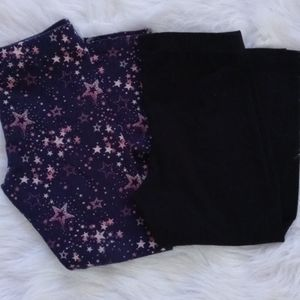 Set of Two Leggings- Black & Navy Blue with Stars